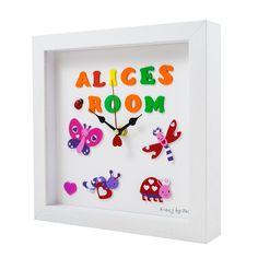 'Alice's Room' Personalised handmade clocks for all occasions Handmade Clocks, Unique Clocks, Personalized Clocks, Clock For Kids, Childrens Gifts, Alice, Frame, Room, Fun