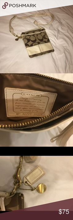"""Coach signature crossbody purse Coach signature crossbody. Authentic! Brown/tan/cream stitching.  Zipper top closure, 2 large pockets on each side Measurements about 8.5"""" x 8""""  Classy yet practical. Small enough to carry with ease, large enough to hold the essentials *Bottom needs just a light cleaning. I'm just not sure what products are safe to use on it!* Coach Bags"""