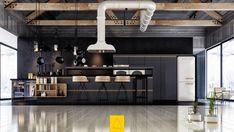 industrial-black-kitchen-white-feature-extractor-fan-polished-wooden-floors-black-matte-focus - Awesome Decors Industrial Farmhouse Decor, Industrial Style Kitchen, Modern Kitchen Design, Condo Kitchen, Kitchen Interior, Kitchen Remodel, Ikea, Layout Design, Black Accent Walls
