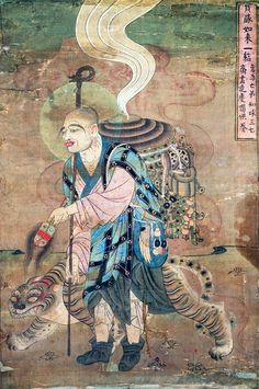 9th century mural painting of the Buddhist monk Xuanzang travelling with a tiger. Mogao Caves, Dunhuang, Gansu Province