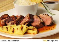Kachní prsa s pikantní sladkokyselou omáčkou recept - TopRecepty.cz Pork, Beef, Chicken, Kale Stir Fry, Meat, Pork Chops, Steak, Cubs