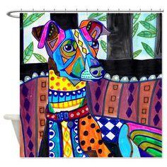 Greyhound Art Shower Curtain, Dog Shower Curtains, Bathroom Decor, Kid or Adult themed