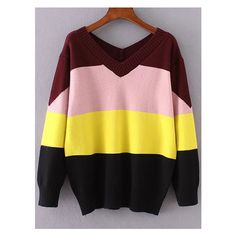 Color Block V neck Ribbed Trim Knitwear (85 BRL) ❤ liked on Polyvore featuring tops, sweaters, v-neck tops, knitwear sweater, color-block sweater, v neck tops and v-neck sweater