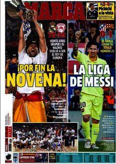 PORTADA DIARIO MARCA: El Madrid de Basket Campeón de Europa. El Barça de fútbol Campeón de liga. 18.05.15