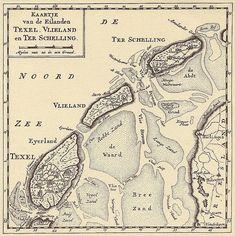 Kaartje van Texel, Vlieland en Terschelling ca. 1750 / ontleend aan Isaac Tirion over Texel - Het Open Boek, 1975