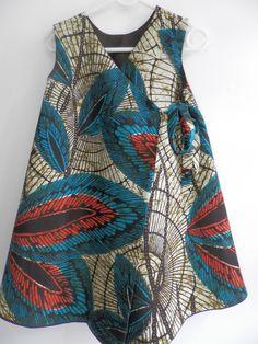 Robe réversible lin chocolat , tissu africain et bloomers 2/4 : Mode filles par la-recreation