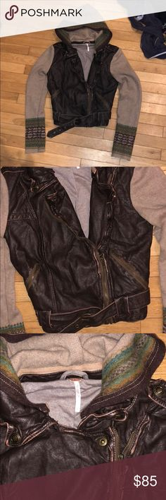 UNIQUE free people faux leather jacket UNIQUE free people faux leather jacket. Size 6. I've only seen 1 other like this on posh that sold for $75 dollars. Rare. Make an offer Free People Jackets & Coats