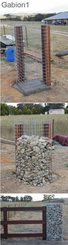 Wood And Gabion Fence Gabion Wood Fence Decorating Ideas . Gabion Column Leading To A Glass Metal Front Door In AZ . Completed Gabion Wall With 1000 Empty Wine Bottles . Gabion Fence, Gabion Wall, Outdoor Projects, Garden Projects, Fence Design, Garden Design, Gabion Baskets, Garden Gates, Backyard Landscaping