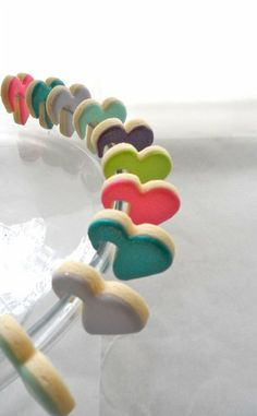 Mini heart cookies for milk glass in rainbow colors - fun idea for Valentines Day!