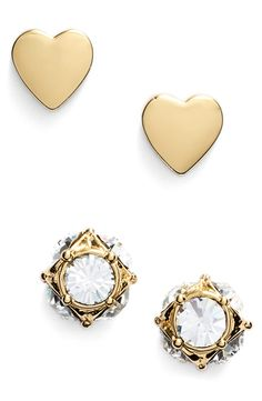 These shiny gold and crystal Kate Spade earrings deliver the perfect balance of girly and sophisticated. Totally cute.