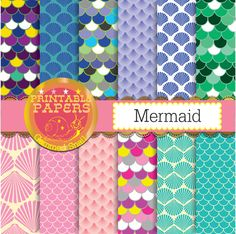 Mermaid digital paper, scallops, fish scales, mosaic texture mermaid background, sea digital paper
