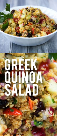 Quinoa Salad Greek Quinoa Salad Loaded with gorgeous veggies and delicious flavors from Back to Her RootsGreek Quinoa Salad Loaded with gorgeous veggies and delicious. Greek Quinoa Salad, Quinoa Salat, Quinoa Salad Recipes Cold, Veggie Quinoa Salad, Quinoa Dishes, Mediterranean Quinoa Salad, Vegetarian Recipes, Cooking Recipes, Healthy Recipes