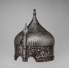 Helmet - late or early century Iranian or Anatolian Turkish Soldiers, Ottoman Turks, Medieval Armor, Ottoman Empire, Metropolitan Museum, 16th Century, Islamic Art, Decorative Bells, Weapons