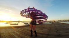 GoPro Video of a Street Performer Dancing With 30 Hula Hoops