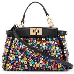 Fendi Micro Peekaboo Tote (€1.790) ❤ liked on Polyvore featuring bags, handbags, tote bags, fendi, black, tote handbags, leather tote bags, colorful tote bags, genuine leather tote and fendi tote