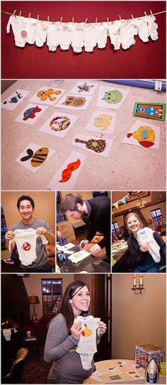 Do It Yourself Onesie Party Baby Shower Ideas (cool activity but not a lame baby shower game)