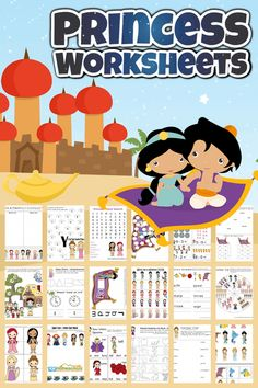 Help kids get excited to practice a variety of math and litearcy skills with thesePrincess Worksheets! These (inspired by)disney princess worksheets are perfect for toddler, preschool, pre-k, kindergarten, first grade and 2nd graders too. Simply download pdf file withfree printable princess worksheetsand you are ready to make learning FUN withprincess printables. Color Worksheets For Preschool, Dinosaurs Preschool, Free Preschool, Preschool Printables, Kindergarten Activities, Toddler Preschool, Dinosaur Worksheets, Construction Theme Preschool, Kids Travel Activities