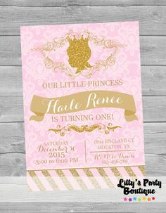 PRINTABLE Princess First Birthday Pink and by LillysPartyBoutique