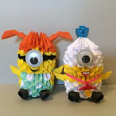 Say bello! to to these amazing paper recreations of the popular minions from Despicable Me 2! There are six types: Baby minion, Hula minion, Maid minion, Evil minion, Beedoo(firefighter) minion, and the Red head minion! They go great with the other 3D origami creations, which can also