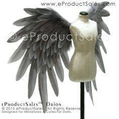 eProductSales Miniature Grey ORION BJD Feather Angel WINGS
