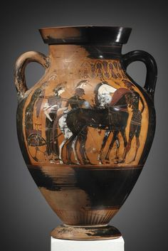 A Black-figure Amphora Type B, Attributed to the Group of Vatican 347 (Near Group E).  Clay. Attic, ca. 550-540 B.C.