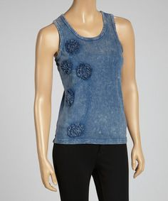 Another great find on #zulily! Blue Stone Wash Embroidered Racerback Top #zulilyfinds