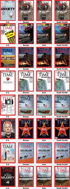 The difference between Times Magazine: America vs. Rest of the world.