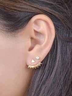 Gold Ear Jacket Gold Plated Ear Cuff Stud Triangle by lunaijewelry