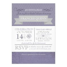 Purple Vintage Victorian Bridal Shower Invitations
