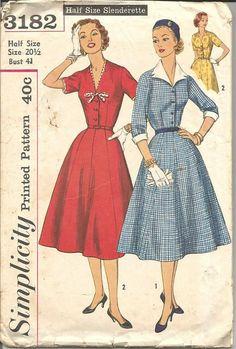 1950s Full Skirt V Neck Princess Seams Variations by kinseysue
