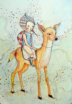 Childrens Wall Art Print -Forest Friends, girl and deer ,print8x11 inches