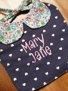 Personalized Girl's Bib with Collar by Greenerbeginnings on Etsy