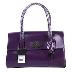 80597e3d883a Mulberry Bayswater Patent Leather Shoulder Bag Purple