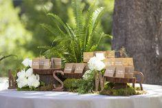 Forest-Inspired Escort Card Display    Photography: Catherine Hall Studios   Read More:  http://www.insideweddings.com/weddings/rustic-classic-summer-wedding-in-lake-tahoe-california/645/