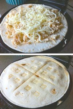 Waffled Quesadillas use your waffle iron to make chicken and cheese quesadillas for a fun and easy dinner or snack idea. -- 23 Things You Can Cook In A Waffle Iron Think Food, I Love Food, Good Food, Yummy Food, Waffle Maker Recipes, Eggs In Waffle Maker, Waffle Waffle, Pancake Recipes, Breakfast Recipes
