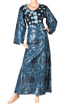 """aljalabiya.com: """"The Deep Sea Kaftan"""" Satin jalabiya with glossy print and machine embroidery on chest (N-10111) $79.00"""