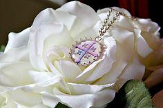 Pastel pink/purple Celtic cross set in a by DaydreamerStudio1, $15.00