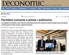 Interesante artículo sobre doiser.com en L'econòmic, suplemento especializado en economía y empresa del diario El Punt Avui