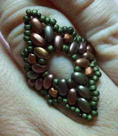 Diamond Duo Ring KIT Green & Pink by offthebeadedpath on Etsy, $12.00