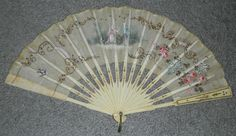 Antique French Hand Fan Hand Painted Linen w Sequin RARE Vintage Bone or Ivory | eBay