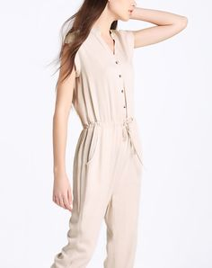 Apricot Cap Sleeve Stand collar Jumpsuit