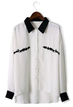 #Chicwish Animals Embroidery Shirt