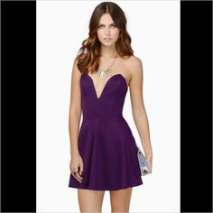 Tobi Purple Plunge Fit And Flare Dress