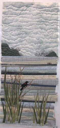 The Elements : Quilt Mosaic Water by Terry Grant. Amazing how rows of fabric can create a gorgeous landscape!