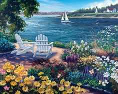 Garden by the Bay Jigsaw Puzzle | Ocean, Beach & Water | Vermont Christmas Co. VT Holiday Gift Shop