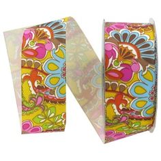 """the Ribbon Boutique 1 1/2"""" Yellow Multi Paisley & Flower Grosgrain Couture Ribbon 