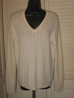 Charter Club Ivory V Neck Cashmere 2 Ply Cable Knit Sweater Top XL #CharterClub #VNeck