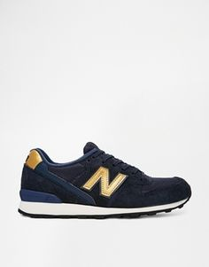 Enlarge New Balance 996 Suede/Mesh Blue and Gold Trainers