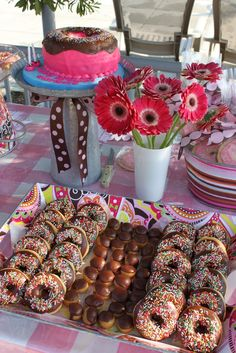 Donut Party. Very neat. Looks like a cake that I can actually make. Think I might really use this for my youngest daughters 2nd bday party in November.