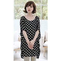 Women's Plus Size Dots Print T-Shirt(Length:75cm)